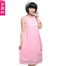夏季孕妇装 韩版夏装背心裙时尚雪纺裙孕妇裙 夏装连衣裙图片