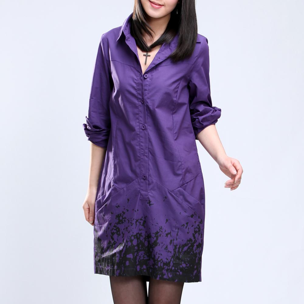 женская рубашка West korea snow 96709 Casual Длинный рукав Однотонный цвет V-образный вырез