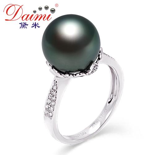 黛米珠宝  11.5-12mm 天然大溪地黑珍珠戒指正品 白18K金真钻