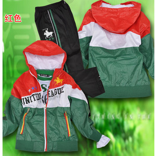 The the genuine  2012 new male childrens clothing childrens sportswear three-piece leisure suits 140-150