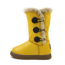 In the 7-8-9-10 year old girl shoes canister boots bowknot han edition shoes 2014 new cotton shoes wet