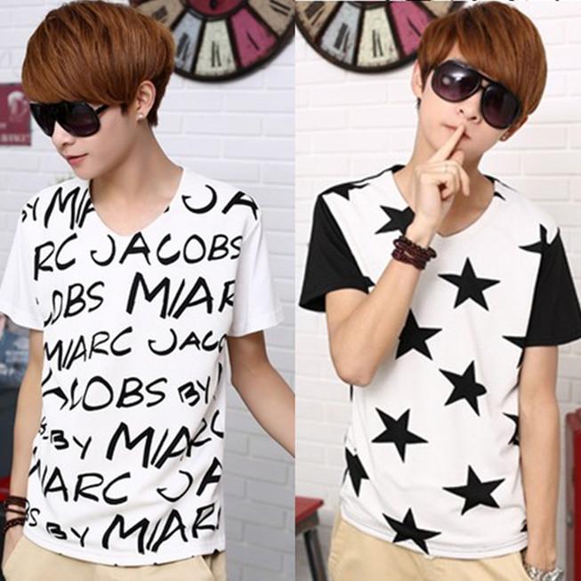 2014夏装新款T血男短袖V领韩版修身T恤青少年打底衫潮男体恤小衫