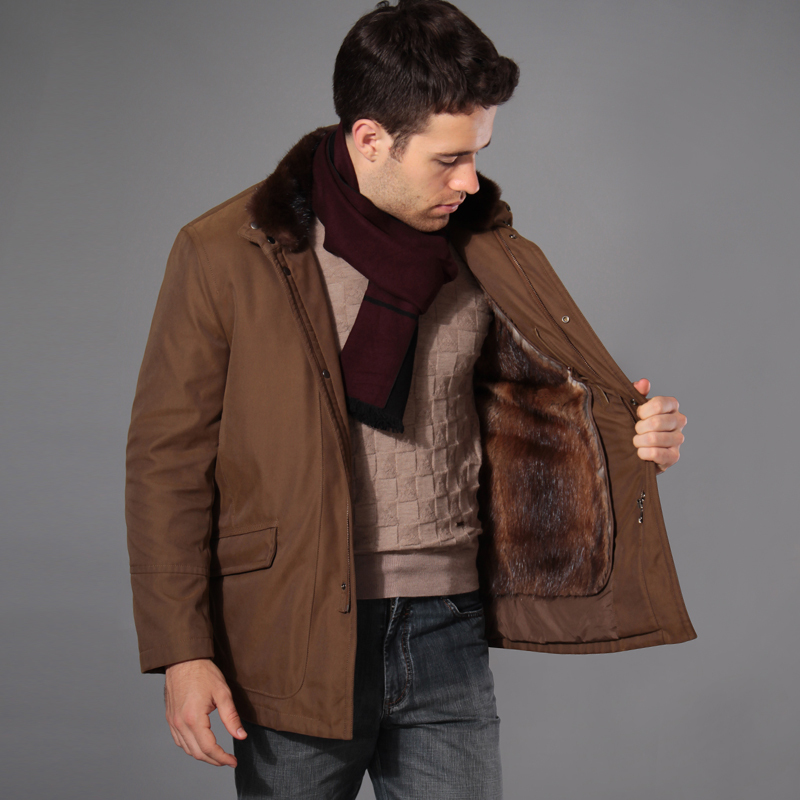 冬季男裝外套厚棉襖水貂毛領貂毛內膽尼克服潮男裝棉衣韓版修身圖片