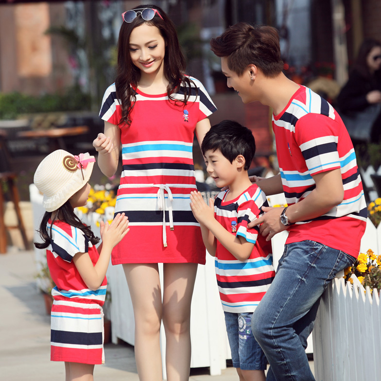 Family fitted 2014 Korean version of the new summer dress mother of three mother Women Women Long Dress child four