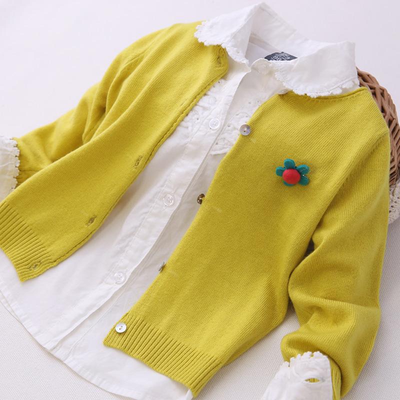Свитер детский 2014 Весна новой девушки свитер джемпер маленький цветок вязать свитер в Европе и вентилятор свитер пальто Девушки Тонкая пряжа Нет