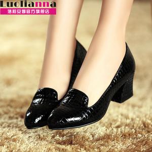 >落莉安娜2014春季新款真皮大码 女鞋粗跟中跟女士单鞋尖头漆皮鞋