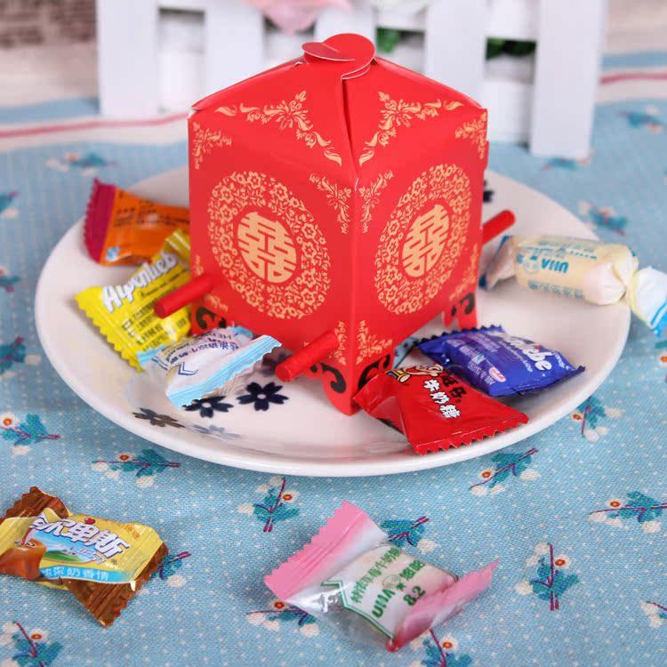 1创意浪漫创意婚庆婚礼用 大红上花轿喜糖盒 喜糖袋 糖果盒 糖盒
