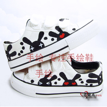 Sports canvas big girl's shoes Velcro graffiti lovely personality leisure cui veneer student travel of the masses