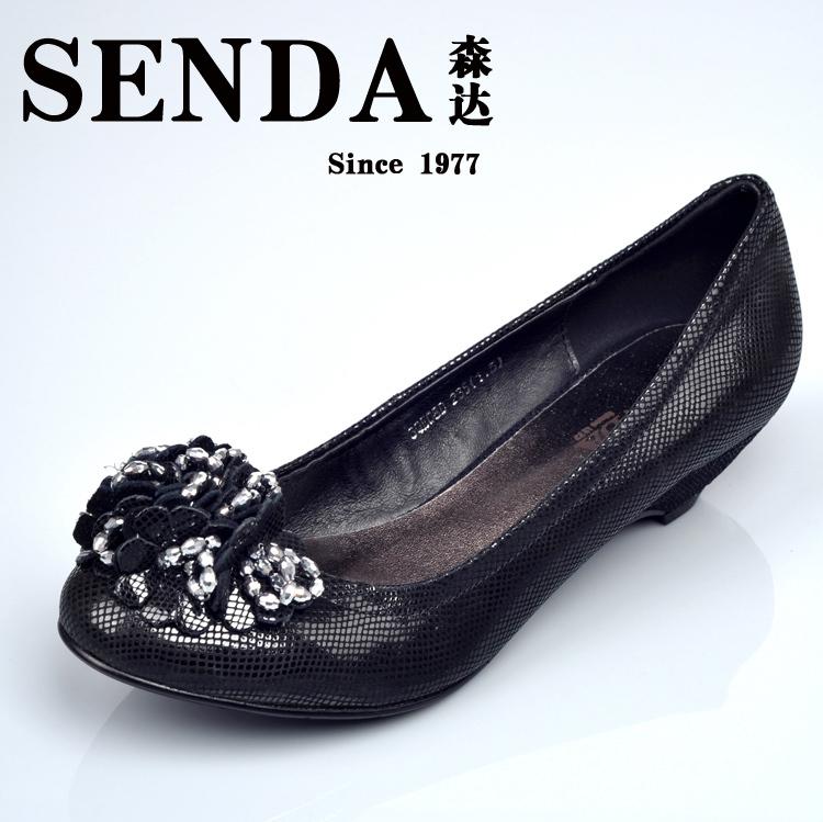 森达女鞋 专柜正品 2012新款女单鞋 qe08浅口 牛皮 特价!图片