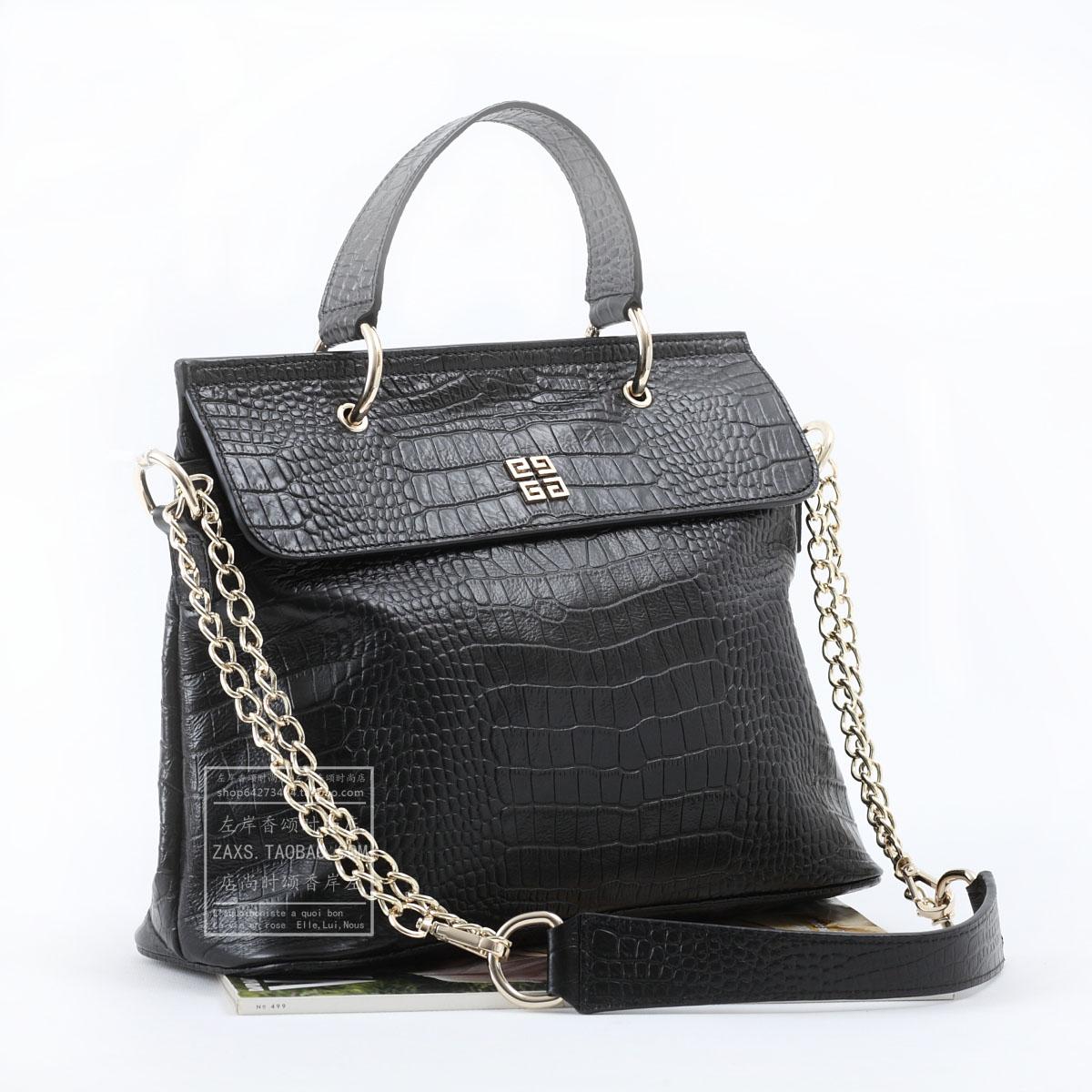Сумка Givench * Ji вентилятор * роскошной крокодиловой шаблон мешок металлические цепи, благородный черный коричневый размер