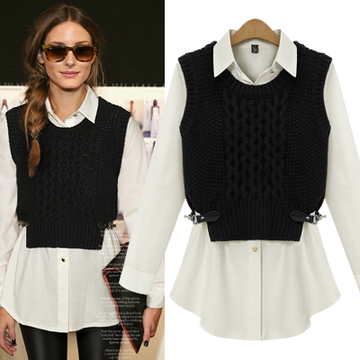 2014 spring new women's two-piece sweater shirt