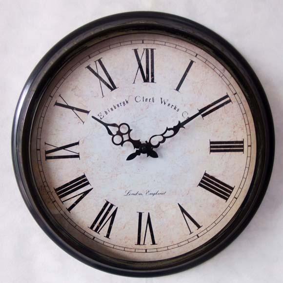 静音 铁艺罗马数字复古美式客厅创意挂钟 欧式田园简洁金属时钟表图片