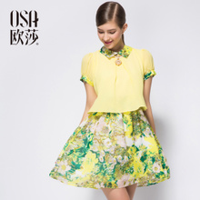 OSA2014 Summer Dress New Model Ladies ' Short Sleeve Chiffon Dresses, Slim OL Skirt SL410175