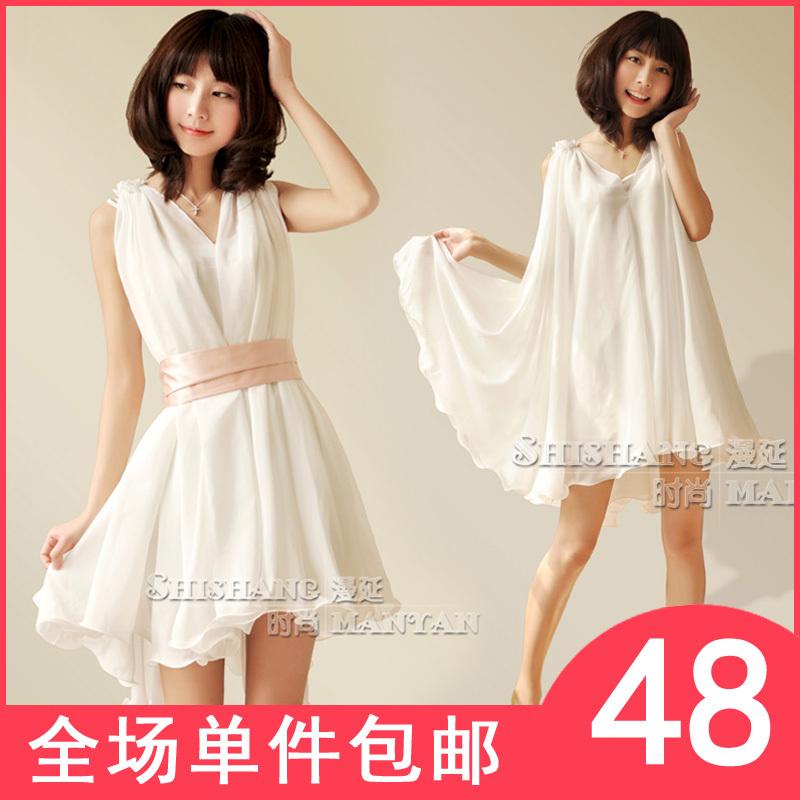 包邮 春装2012新款纯色雪纺连衣裙春款仙女韩版女装夏季背心裙子
