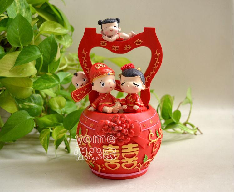 小姬子孙桶家居工艺品树脂装饰摆件新婚结婚创意情人礼物礼品9638
