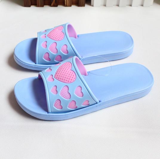 新款爱心一字居家拖鞋 女可爱沙滩凉拖韩版吹气防滑舒适镂空托鞋图片