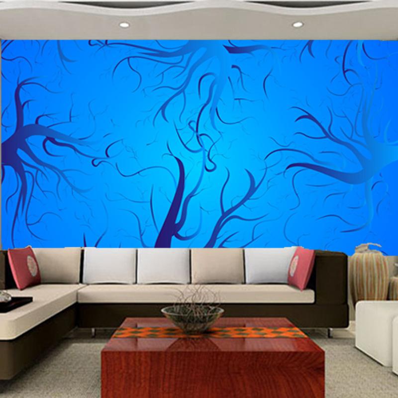 卓麦森大型壁画沙发壁纸墙纸蓝色墙背景树枝如鱼得水墙纸图片