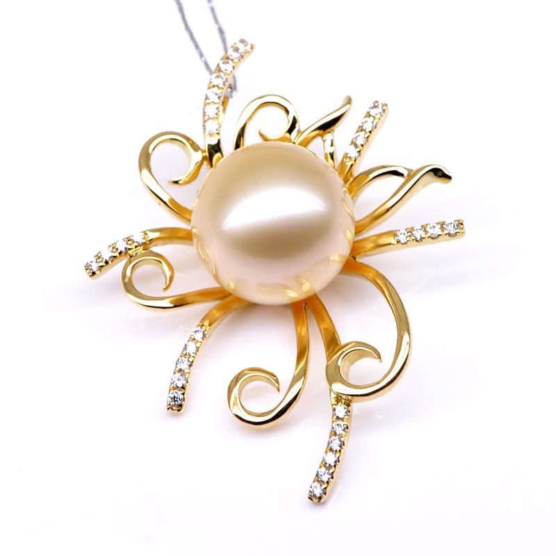 北海珍珠七夕礼物10-11mm18K金钻石天然金色南洋金珠吊坠 豪华正品