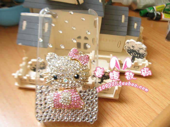 手工iphone4 3GS hello kitty 立体kt猫 水钻壳 手机套4s