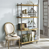 欧式实木仿古铁艺置物架 书架 厨房架置物架整理架 收纳架