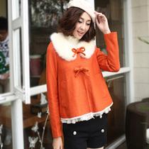 辉煌依升冬季新款 韩版时尚可爱娃娃领毛领毛呢斗篷大衣女短外套