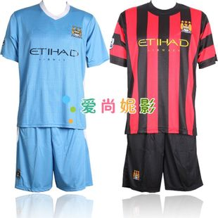 Manchester City Football clothes suit men's soccer team football competition clothing clothes children's football short sleeve shirts