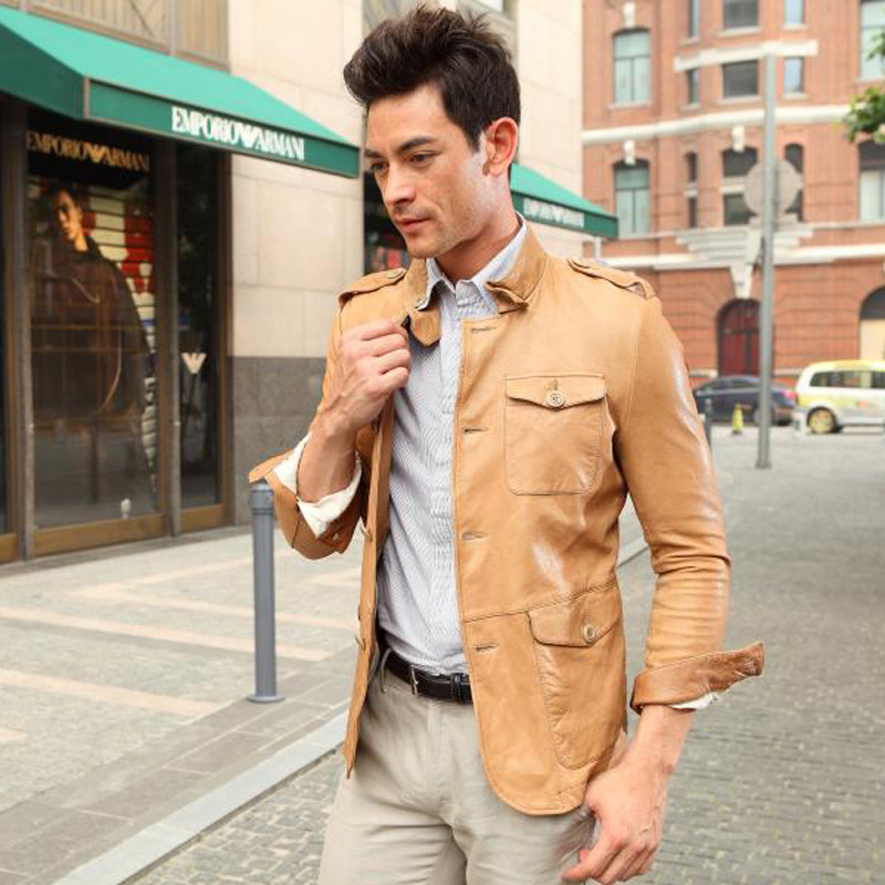 Одежда из кожи G 99202 Одежда из натуральной кожи Овечья кожа Осень Воротник-стойка Модная одежда для отдыха