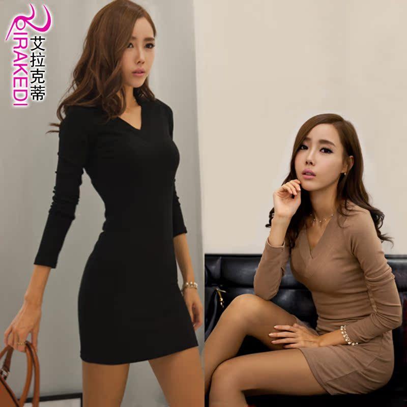 韩版冬款连衣裙 黑色 深咖啡色 杏色