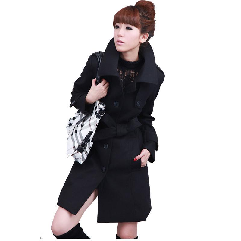 женское пальто 1212 Средней длины (65 см <длины одежды ≤ 80 см) Длинный рукав Классический рукав