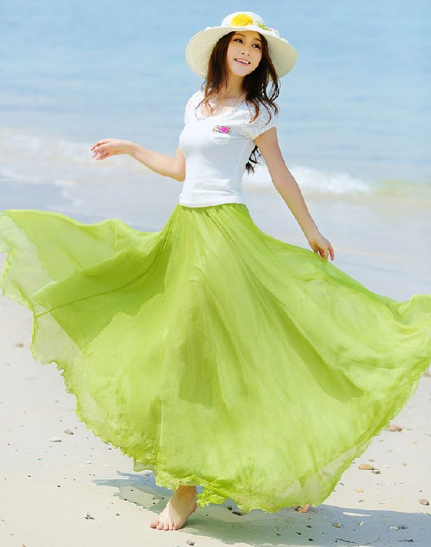 The new 2014 Bohemian dress Eight meters large pendulum show thin chiffon skirt 8 meters chiffon skirts short skirts Taobao Agent