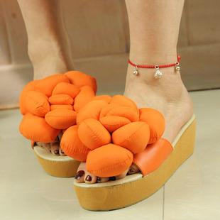 夏季 凉拖 女式甜美拖鞋松糕跟一字拖坡跟防水台平底休闲鞋子