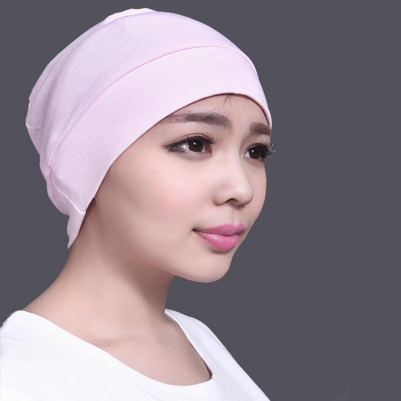 带兜鱼 女士夏秋成人化疗居家帽子 头巾套头帽月子 睡帽,纯色系