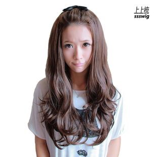 Comb wig long fluffy half-hoods wig long wavy girl fashion fatao