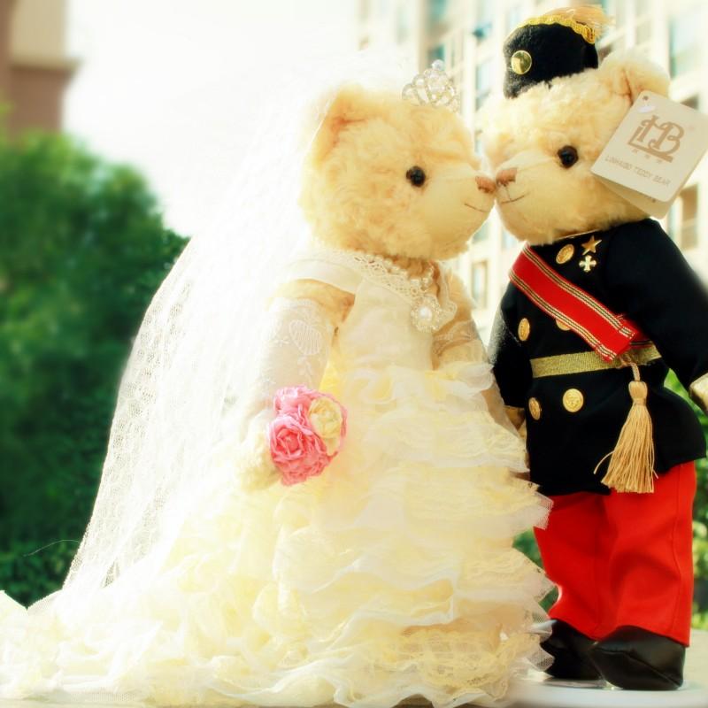 包邮情侣结婚泰迪熊对熊公仔女友生日情人节礼物压床娃娃毛绒玩具
