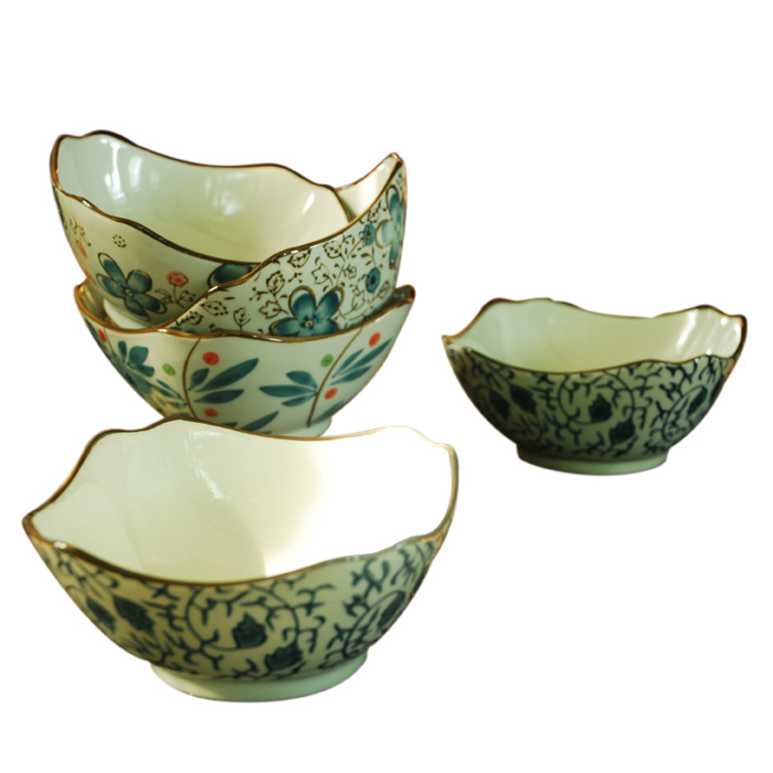 Kyocera ceramic bowls and colorful flowers gift set