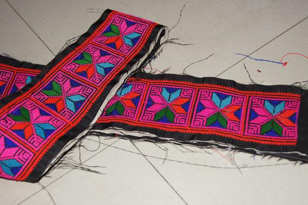 Декоративная флористика Гуанси Чжуан Jin гонки Вышивка цветов/люди/кружева/вышитые ткани/старый вышитые/фолк стиль