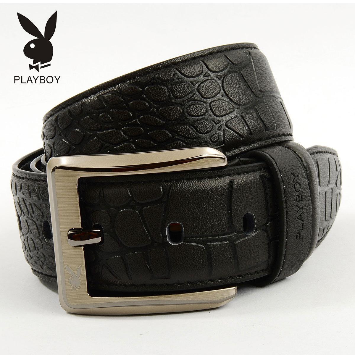 Ремень Playboy pdd0221/11bf Мужчины Кожа быка Повседневный стиль С тиснением Липучка Кожаные вставки