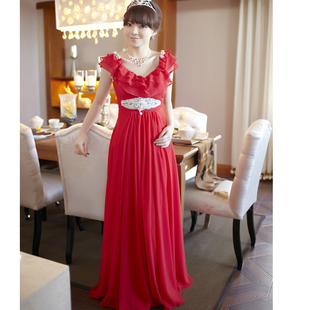 Luxury style spring 2012 new FRILLS MaxMara toast red suit deep v-collar  bride beautiful moving