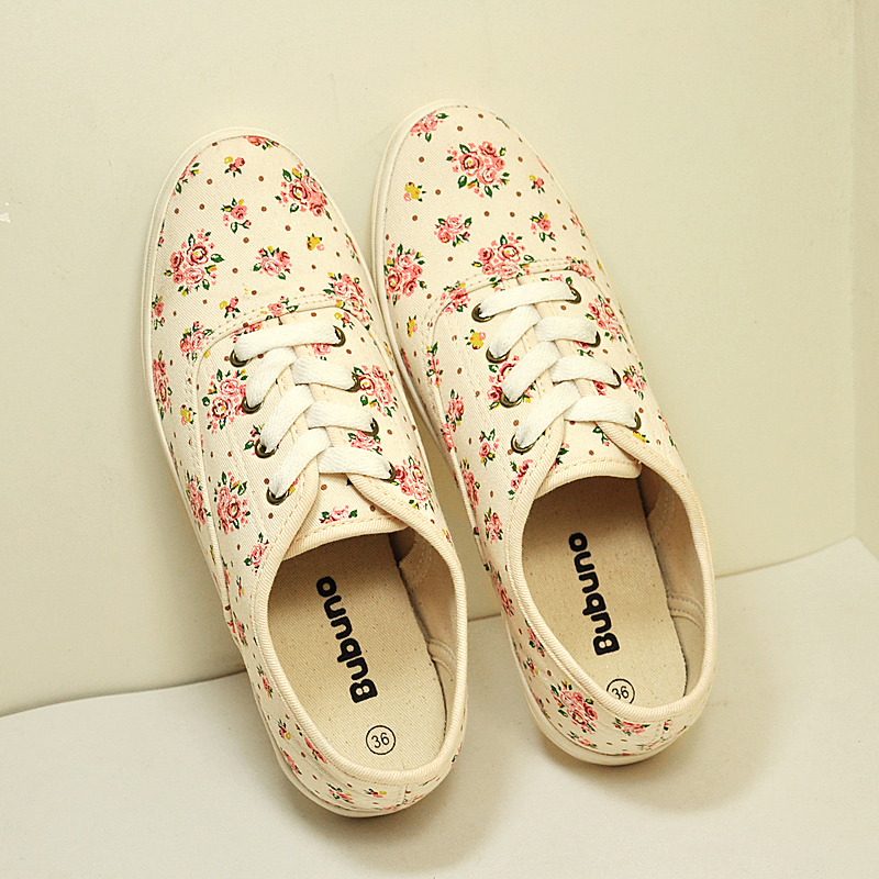 Bubu Nuo new 2014 small floral retro fresh spring models to help low canvas shoes women flat shoes light and comfortable
