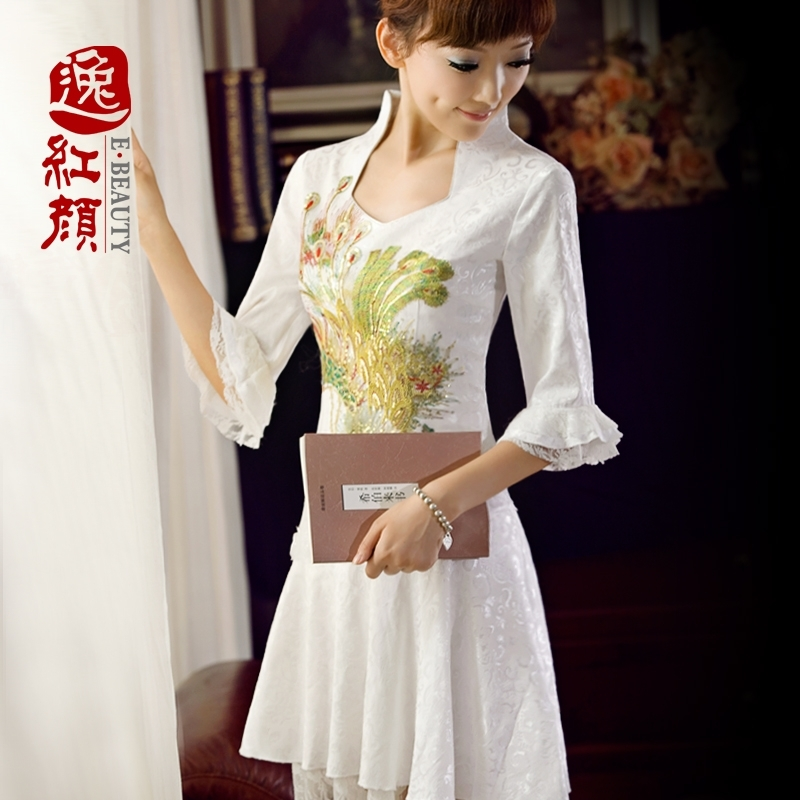(Plaza beauty) White retro lace cheongsam PHENIX improvement summer clothes long sleeve fall MIDI