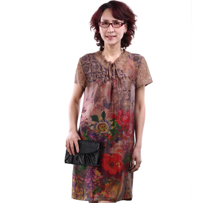 好享 中老年女裝夏裝 新款時尚媽媽裝真絲連衣裙 香云紗桑蠶絲圖片