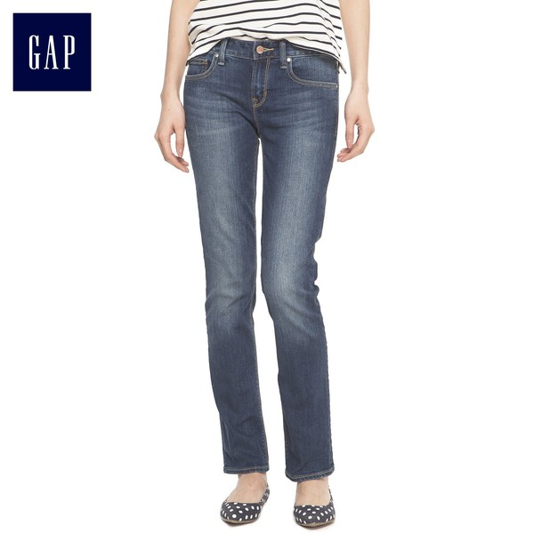 Limited Time 75% off   Gap classic moderate color wash straight jeans Slim thin legs pants   Women 364619