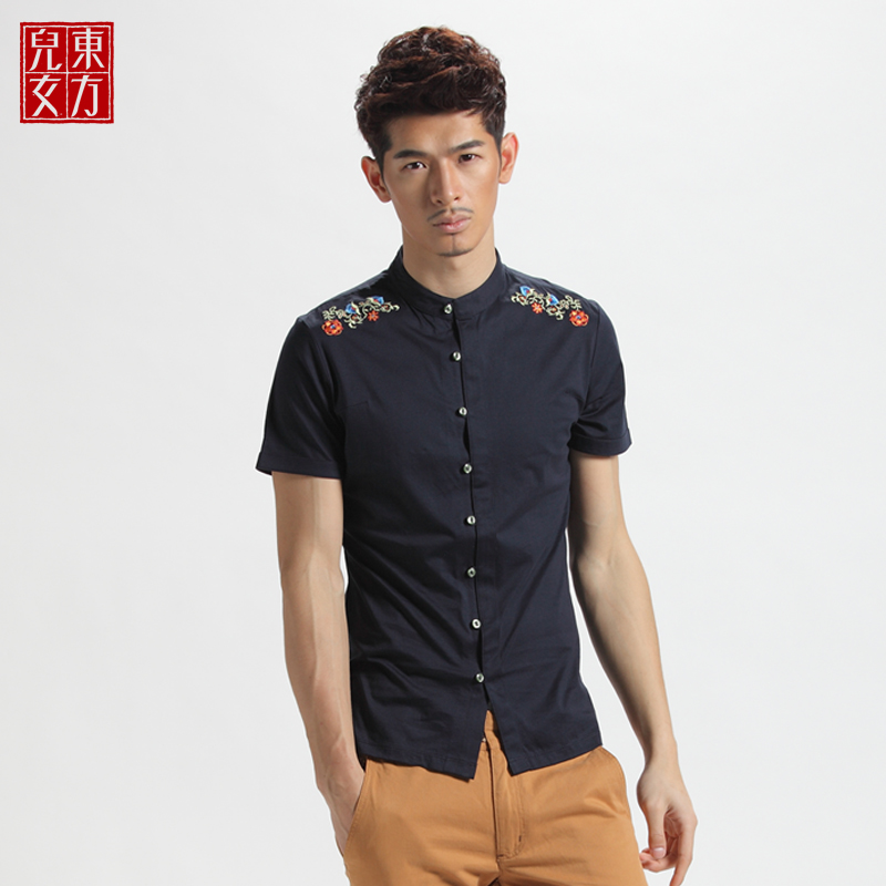 Dong fang nver Men shirt summer youth men's short sleeve shirt fashion personality ethnic Chinese shirt  Taobao Agent