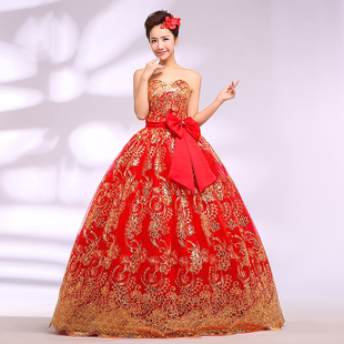 Winter wedding dress 2013 new Korean women dress red v-neck to thicken thin dress