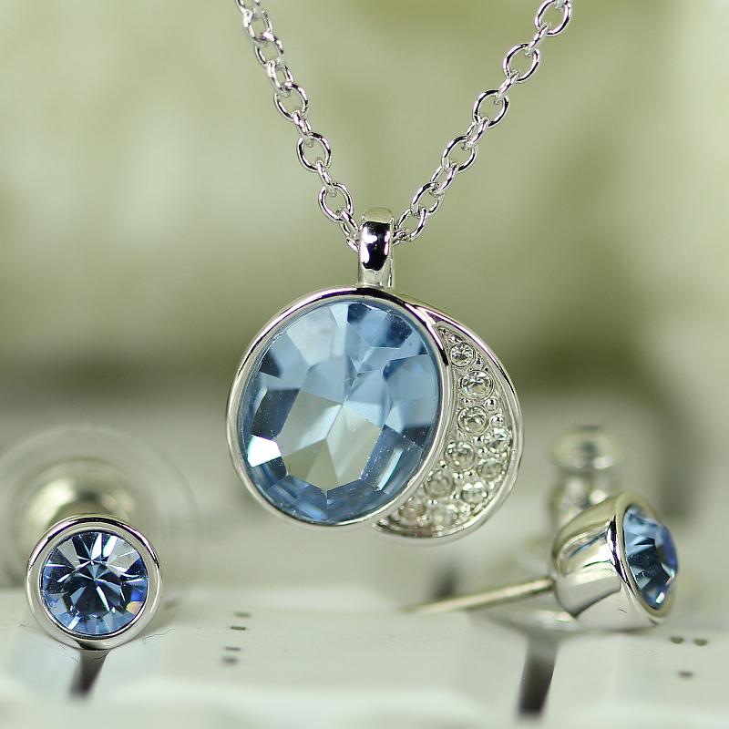 中秋特价现货施华洛世奇 精品项链正品蓝色水晶项链 耳钉 套装 993484