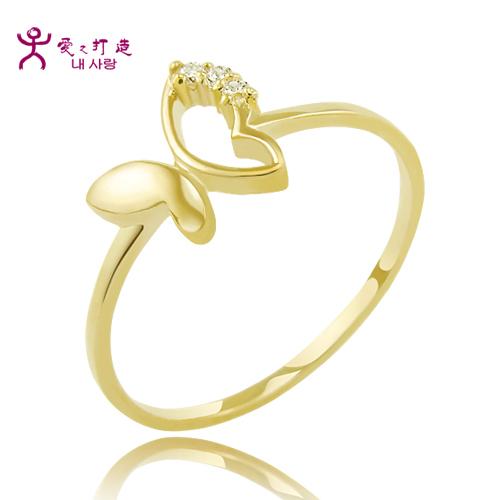 爱之打造 韩国14K纯金 精巧蝴蝶戒指 143063 包邮