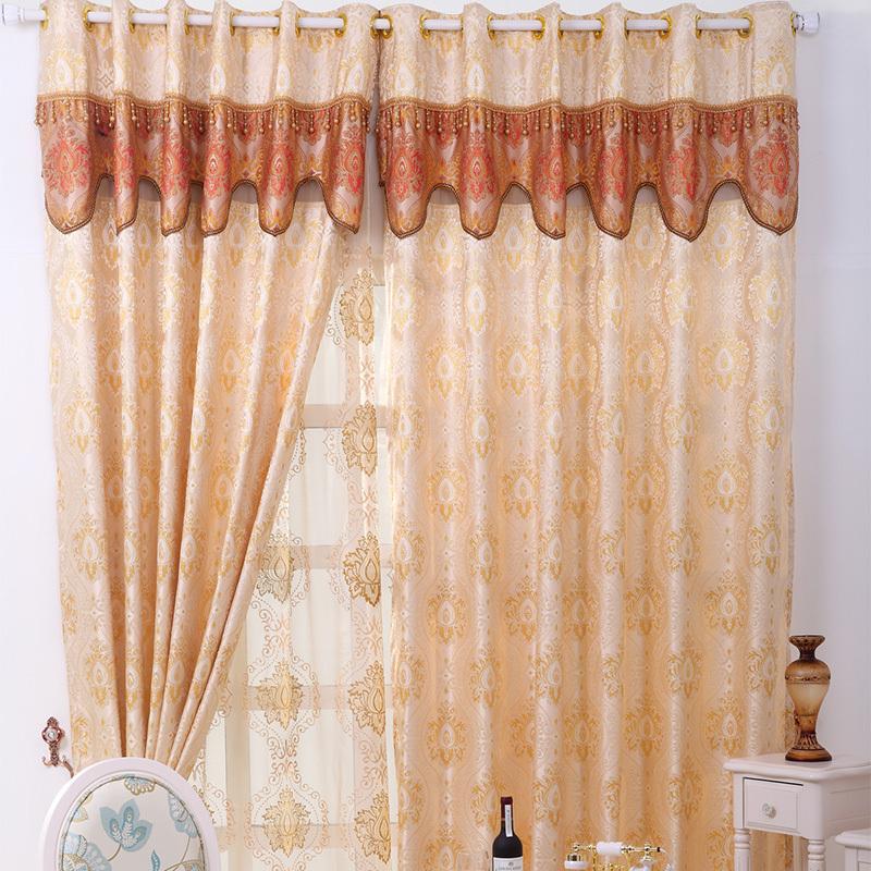 金色恋曲品牌客厅高档欧式遮光窗帘布黄色 飘窗雪尼尔图片