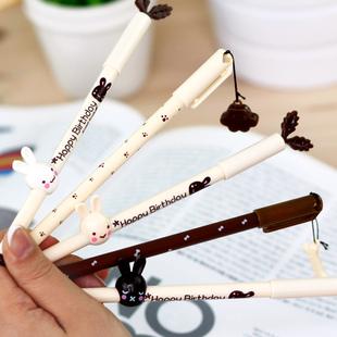[特]安安家★日韩国文具 兔兔 骨头挂件玄色中性笔 水性笔 G101 联好