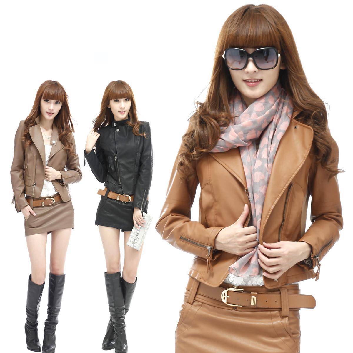 新品女装2012秋装新款韩版时尚皮装机车服小外套pu皮夹克短款皮衣