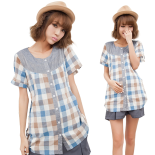 Female Royal maternity dresses of summer maternity shirt women shirt Plaid Shirt women coat Korean 12,013